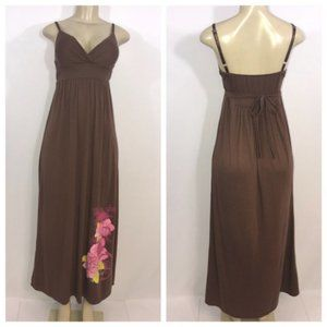 Brown & Pink Floral Print Maxi Dress Small